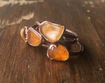 Citrine Ring and Electroformed Copper | Citrine Ring | November Birthstone | Electroformed Citrine Ring | Birthstone Ring
