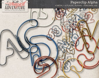 Metallic Alphabet Letters, Digital Paperclip Alpha Pack, Instant Download, Scrapbooking, Plastic Effect, Numbers, Symbols and Punctuation