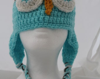 Child's Turquoise Crocheted Owl Hat