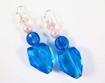 Bright Turquoise Blue Earrings, Pink and Blue large earrings  #1194E