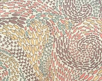 "2017: Shoals C Liberty Fabric scrap tana lawn 10"" x 10"" square (25,4 cm x 25,4 cm) white blue pink purple yellow fish The Weavers Mill"