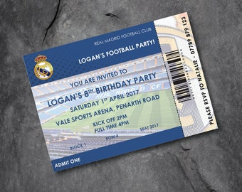 Real Madrid -  Football invitations - kids party - personalised - Free P&P