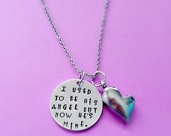 Memorial Cremation Ashes Urn Pendant Necklace, Hand Stamped I Used to Be His Angel Now He's Mine, Dad Memorial Jewelry, Remembrance Necklace