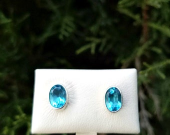 Blue Topaz Stud Earrings - Sterling Silver Blue Topaz Earrings - December Birthstone Earrings - Gemstone Studs
