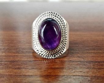 Purple Amethyst Ring - Boho Ring-February Birthstone Ring- Bohemian Jewelry - Unique Statement Ring