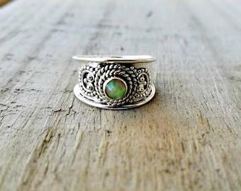 Opal Ring - Sterling Silver Gypsy Ring - October Birthstone - Fire Opal Band Ring - Australian Opal Jewelry - Tribal Jewelry
