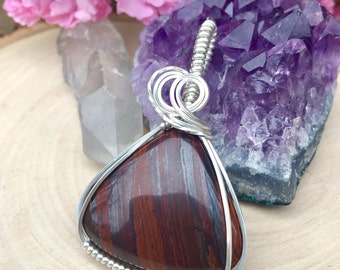 Sterling Iron Tigers Eye Necklace, Tiger Eye Jewelry, Iron Tigers Eye Wire Wrap, Sterling Silver Wire Wrap, Tigers Eye, Classy Wire Wrap