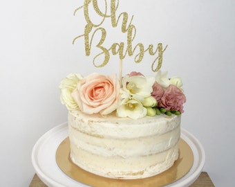 Oh Baby Cake Topper-Oh Baby Shower-Glitter Cake Topper-Gender Reveal Party-Baby Shower Cake Topper