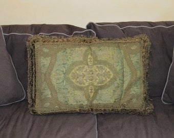 Vintage Large Decorative Tapestry Pillow Green