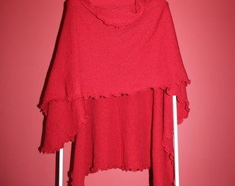 Ruffle Wrap Cape:  Coral/Red/Burgundy/Mustard