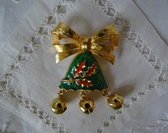 Vintage 60's Christmas Bell Brooch, Bells Actually Ring! Festive Holiday Pin, Dangling Bells Brooch, Holiday Party Accessory, Great Gift ~