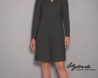 White dress, Black dress, womens dresses, long sleeves dress, loose dresses, party dress, V neck dress, Jersey dress, unique dress