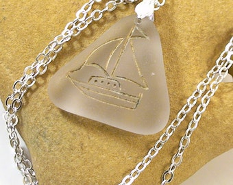 Sea Glass Jewelry Sailboat Sea Glass Necklace Natural Seaglass Jewelry Beach Sailboat Necklace - MTSG