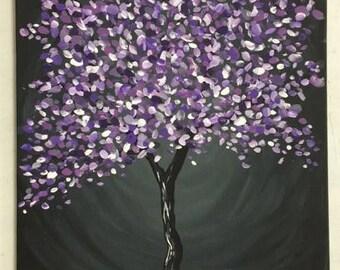 Original modern purple tree on black, painting on canvas panel