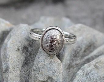 Gibeon meteorite Ring, Gemstone Meteorite Gibeon Ring, Gibeon Meteorite Ring, Sterling Silver Meteorite Ring, Gift Jewelry, Silver color, Jewelr