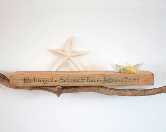 "Driftwood wall shelf decorated with Driftwood branch and the lettering from the song ""La Paloma"""