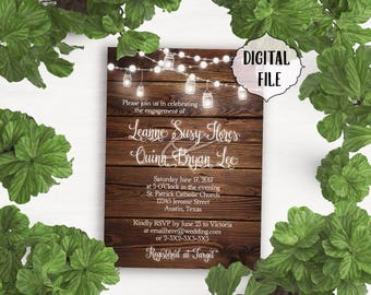 Rustic engagement party Invitation, Wood Background, lights engagement Invitation, Printable invitation, mason jars, rustic wood invitation