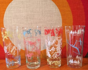 Vintage Iced Tea Glasses, Set of 4, Mixed Lot of Retro Tom Collins Glasses, Skiing, Mountain Climbing, Birds, Horse Racing