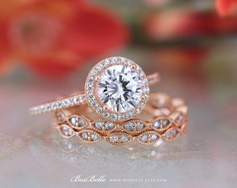 2.42 ct.tw Halo Bridal Set Ring-Engagement Ring W/ Art Deco Two Eternity Band Ring-Rose Gold Plated-Sterling Silver [65407MRG-3]