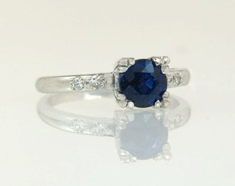 Antique Vintage Estate 18K White Gold .94ct Genuine Diamond & Blue Sapphire Art Deco Ring 4.4g