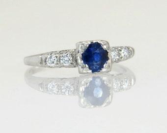 Antique Platinum .63ct Genuine Diamond & Sapphire Art Deco Engagement Ring 2.6g