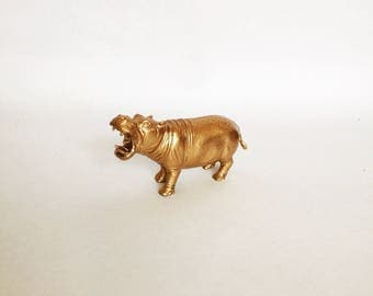 Gold Metallic Hippo - Safari Chic - Birthday - Wedding - Shower - Nursery - Decor - Party Decor - Party Favors - Cake Topper - Weight