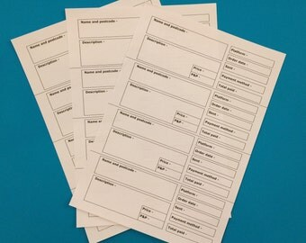 Order forms, printable order forms 4 to a page, digital download craft order forms, small business order form