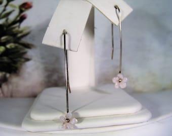 Sterling Silver Earrings, Petite Flower Earrings, Genuine Shell, Pierced Earrings, Carved Shell Earrings, Minimalist Earrings, French Hook