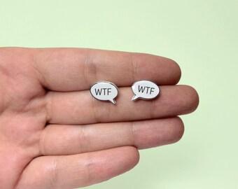 WTF Speech Bubble Earring Stud Earring WTF Bubble Jewelry Jewelry Text Message Texting Gift Idea