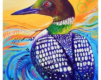 "Loon - Original colorful traditional acrylic painting on paper 8.5""x11"""