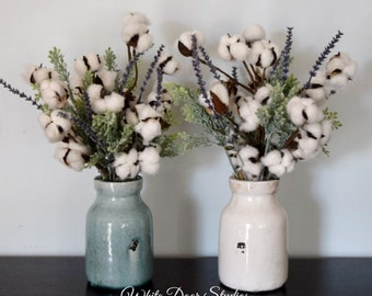 Rustic Cotton Arrangement | Farmhouse Decor | Rustic Decor | Cotton Decor | Cotton Stems in Ceramic Vase |