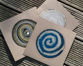 Set of 3 // Handmade Greetings Cards // Blue Spiral, Third Eye, White Mandala // Original Artwork