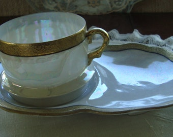 Shofu Japan - Tea Cup and Hostess / Sandwich Plate - Gold Band on Iridescent Lusterware