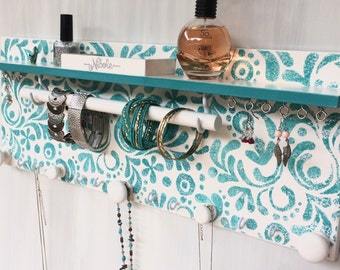Handmade jewellery display - Jewelry organiser with shelf - Necklace holder - Bangle bar - Rings & studs compartment - Wooden knobs - Teal