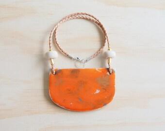 Resin Necklace | Wearable Art | Handmade | Orange Layer
