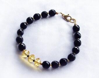 Agate bracelet Citrine bracelet Beaded bracelet Gemstone bracelet Black bracelet November birthstone Gift women Christmas gifts for her