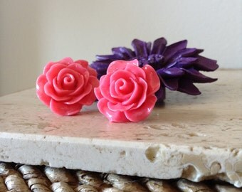 Bold oversized Dusty Pink Acrylic Rose post earrings. Make a statement with any outfit.