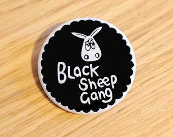Sheep badge, Black Sheep Gang!, button badge, punny badge. black sheep badge, black sheep of the family, funny badge, punny gift, shepherd