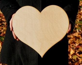 "14"" Large wooden Heart Large laser cut heart wooden big heart Custom Wedding heart Please sign a heart for Wedding Guestbook Alternative"