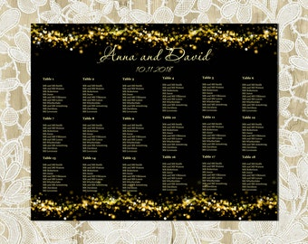 Printable Seating Chart, Black and Gold Seating Chart, Gold Sparkles, Wedding Seating Chart, Engagement Seating Chart, Printable, WT-025