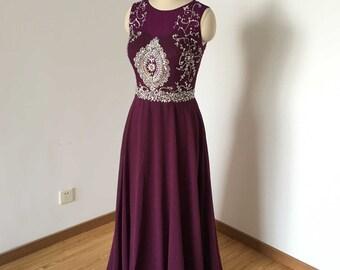 Gorgeous Beaded Grape Chiffon Long Prom Dress 2017