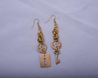 Lock and Key Jewelry / Nickel Free Earrings / Steampunk Earrings / Steam Punk Jewelry / Nickel Free / Nickle Free / Steampunk Earings