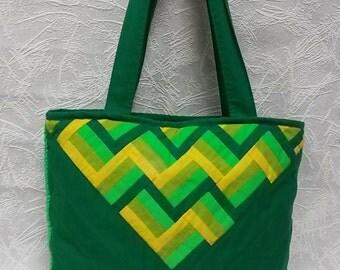 Cotton Tote Bag Womens bag Green Reflective Handbag Pathwork Shoulder bag Shopping bag Grocery bag Cloth bag Handmade bag Homemade bag