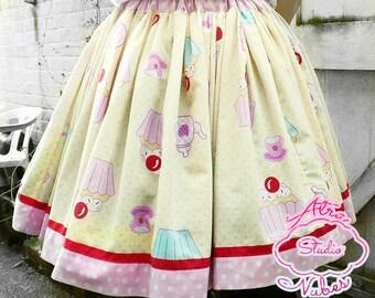 OOAK Handmade Sweet Lolita Cupcake Print Skirt Free size