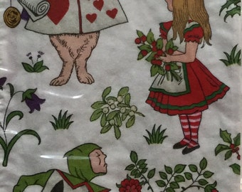 """20 Large Hostess Napkins, One Package, Alice in a Winter Wonderland, 13""""x16"""""""