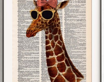Cool Giraffe with Sunglasses and a Bow - Quirky Animal Art - Funny Wall Decor - Dictionary Art - Unframed