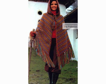 Hooded Cape Crochet Pattern with Women's Turtleneck Sweater and Gloves Knitting Pattern Bust 32 34 37 PDF Download Aztec Stashbuster 27-13