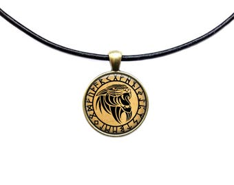 Panther rune necklace Occult pendant Druid jewelry