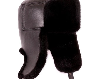 Men's hats made of mink fur, black