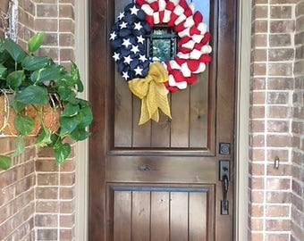 Patriotic Burlap Welcome Door Wreath American Flag Red White Blue Rustic Army Navy Air Force Marines Military 4th of July Independence Day